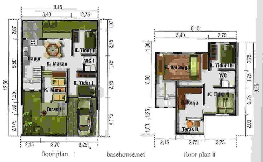 desain denah rumah type 100 2 lantai idaman