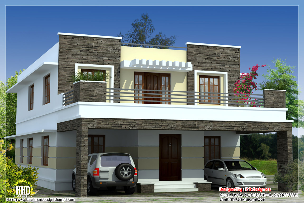 3 bedroom modern flat roof house kerala home design and for New house plans with pictures