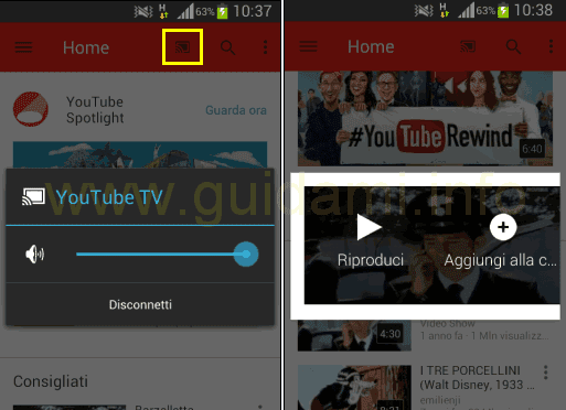 App YouTube mobile trasmettere video a TV