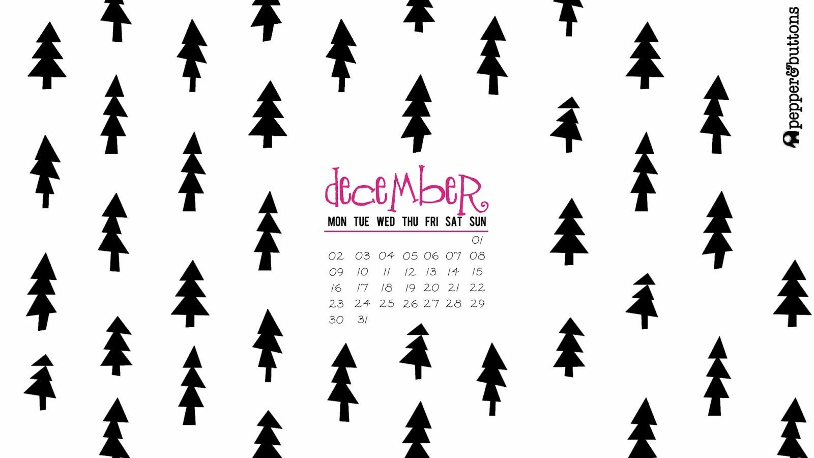 pepper and buttons  december 2013 free desktop calendar