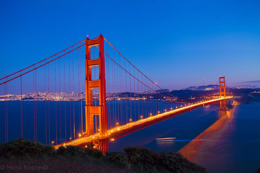 Travellingcamera Team keep looking for some interesting Photo Stories and this time we requested Hema to share some of the photographs from her Night Photography shoot from San Francisco. So enjoy this beautiful Photo Journey from San Francisco and also learn few things about Night Photography.  San Francisco is a beautiful City and a leading financial/cultural center of Northern California in USA. San Francisco is most densely settled large city in the state of California and the second-most densely populated major city in the United States after New York. San Francisco is the fourth most populous city in California, after Los Angeles, San Diego and San Jose.  San Francisco was founded in 1776, when colonists from Spain established a fort at the Golden Gate and a mission named for St. Francis of Assisi a few miles away. San Francisco was destroyed by the 1906 earthquake and fire.. But then it was quickly rebuilt, hosting the Panama-Pacific International Exposition nine years later.The Golden Gate Bridge is a suspension bridge spanning the Golden Gate strait and three mile long channel between San Francisco Bay and the Pacific Ocean. The structure links the beautiful city San Francisco to Marin County. It is one of the most internationally recognized symbols of San Francisco, California, and the United States. Golden Bridge has been declared as one of the Wonders of the Modern World by the American Society of Civil Engineers The Frommers travel guide considers the Golden Gate Bridge 'possibly the most beautiful, certainly the most photographed, bridge in the world'.To know more about Golden Bridge, check out - http://en.wikipedia.org/wiki/Golden_Gate_BridgeNight Photography needs lot of patience and practice to get decent results It's not very different from other types of photography but right knowledge of gadgets to be used is critical. Without repeating some of the standard practices, I would share one of the favorite links which talks about Night Photography with nice examples - http://digital-photography-school.com/night-photographSan Francisco is a beautiful city having varied colors of diversity. There are various places around Golden Bridge from where the city looks beautiful with huge buildings with many of the international business offices. Many of the companies has head offices in San Francisco and people from different parts ofthe world come here to work & explore new opportunities. Above photograph shows Fireworks in the sky above San Francisco City.The Palace of Fine Arts in the Marina District of San Francisco, California, is a monumental structure which was originally constructed for the 1915 Panama-Pacific Exposition in order to exhibit works of art presented there. One of only a few surviving structures from the Exposition, is the only one still situated on its original site. It was rebuilt in 1965, and renovation of the lagoon, walkways, and a seismic retrofit were completed in early 2009. In addition to hosting art exhibitions, it remains a popular attraction for tourists and locals, and is a favorite location for weddings and wedding party photographs for couples throughout the San Francisco Bay Area, and such an icon that a miniature replica of it was built in Disney's California Adventure in Anaheim. Check out more about Palace of Fine Arts at - http://en.wikipedia.org/wiki/Palace_of_Fine_ArtsAs of now San Francisco is ranked 44th of the top tourist destinations in the world and was the sixth most visited one in the United States in 2011. The city San Francisco is renowned for its cool summers, fog, steep rolling hills, eclectic mix of architecture, and landmarks including the Golden Gate Bridge, cable cars, the former prison on Alcatraz Island, and its Chinatown district. It is also a primary banking and finance center.