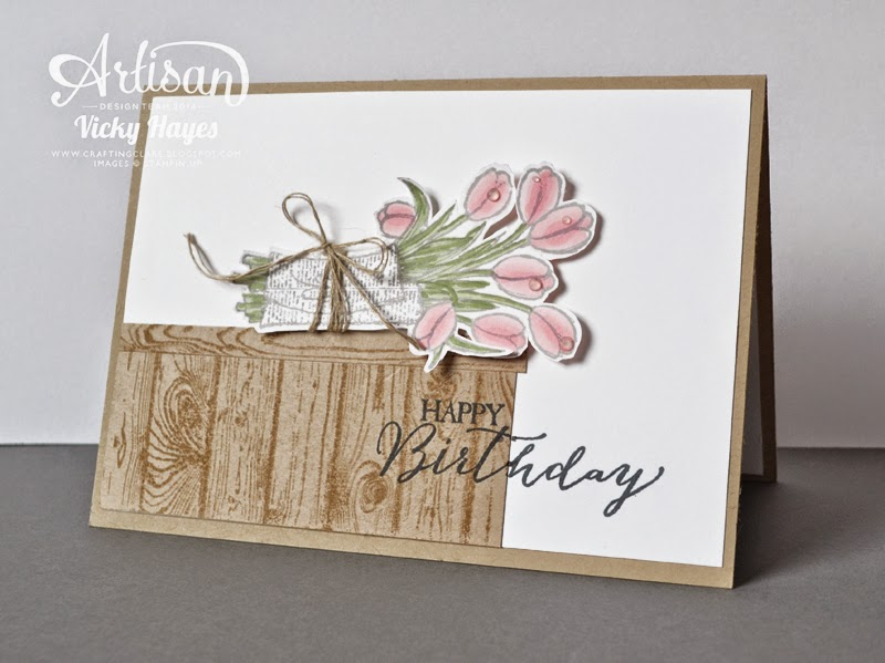Handmade birthday card using Hardwood and Love is Kindness by Stampin' Up