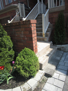 Front garden and steps, interlocking stone, townhouse