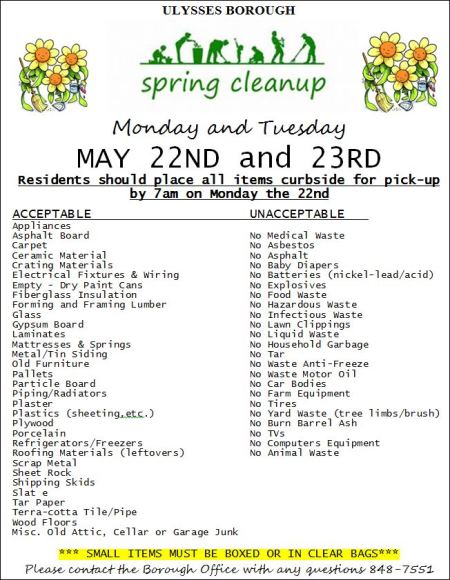 5-22/23 Ulysses Borough Spring Cleanup