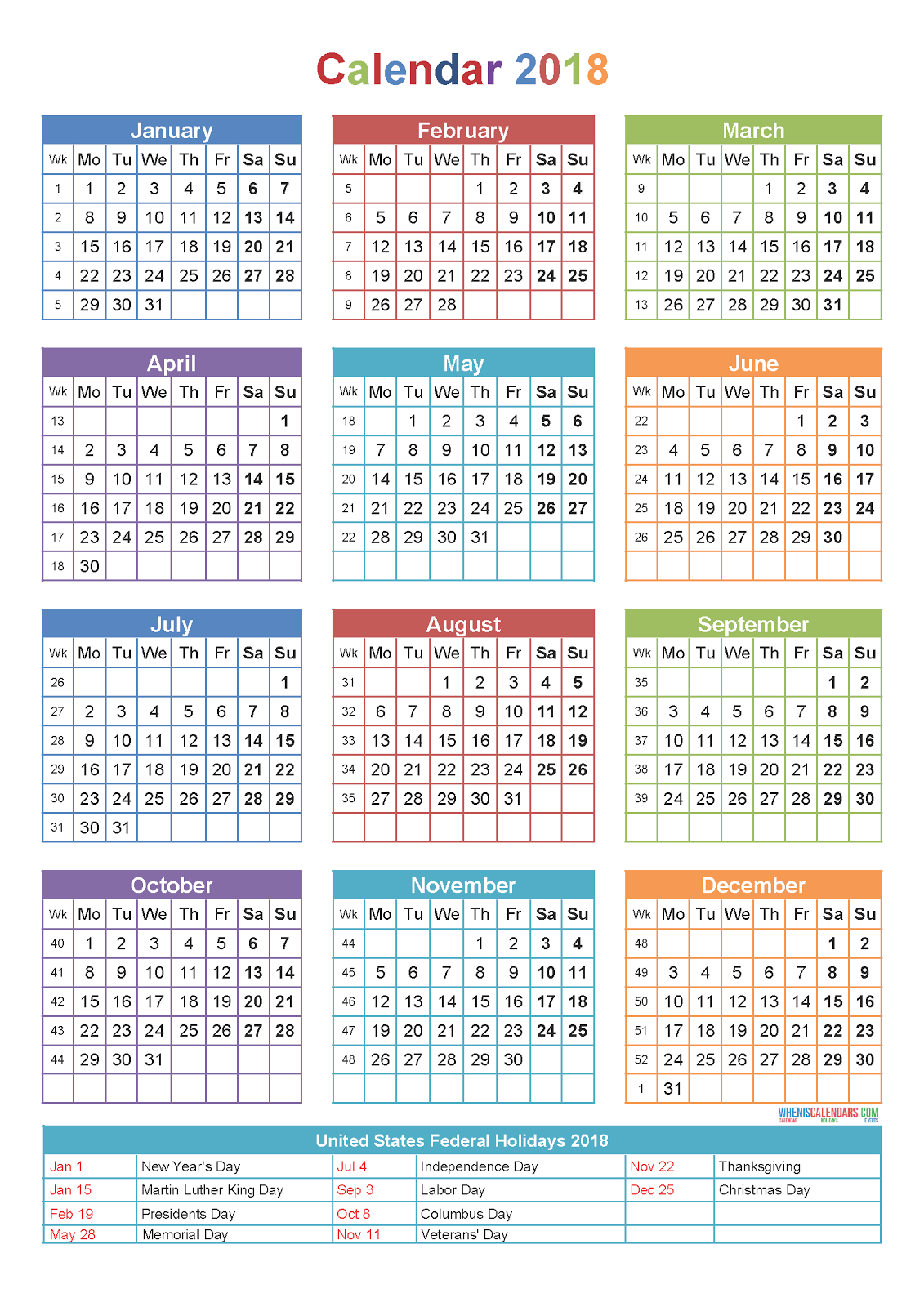 10  yearly calendar 2018 templates - pdf word excel