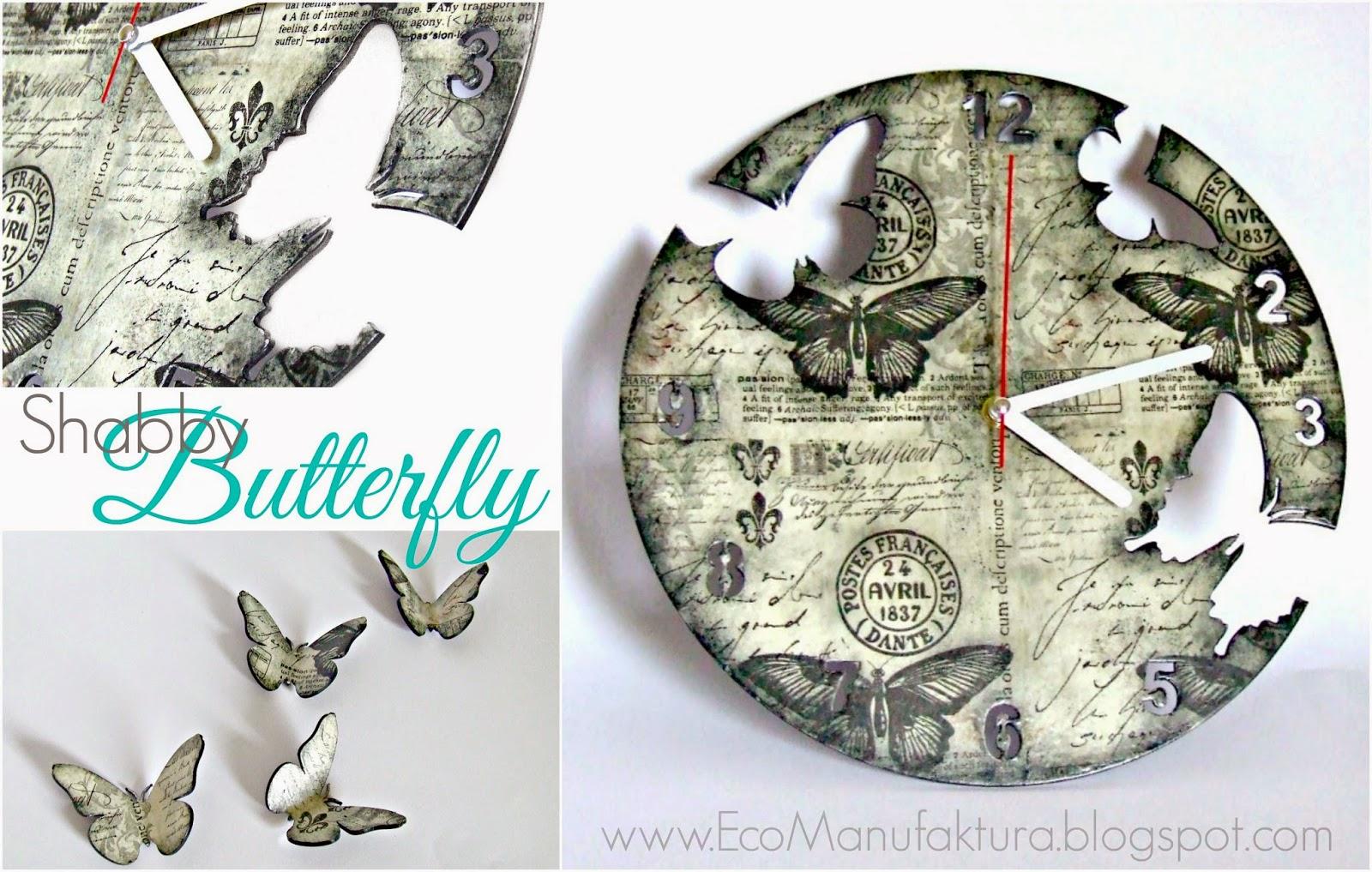 Zegar i chustecznik w motyle shabby chic by Eco Manufaktura