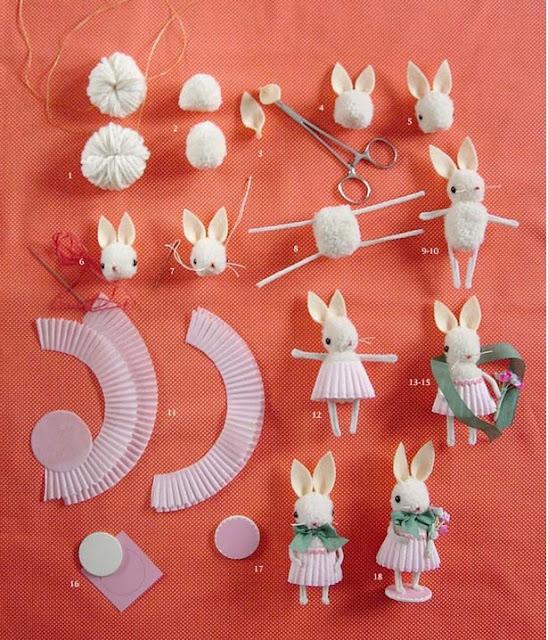 Tutorial conejos de Pascua con Pompones DIY Pom Pom easter Bunny