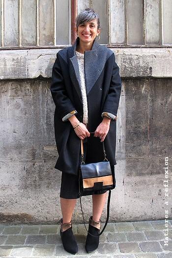 Manteau Matières à Réflexion en streetsyle look du jour
