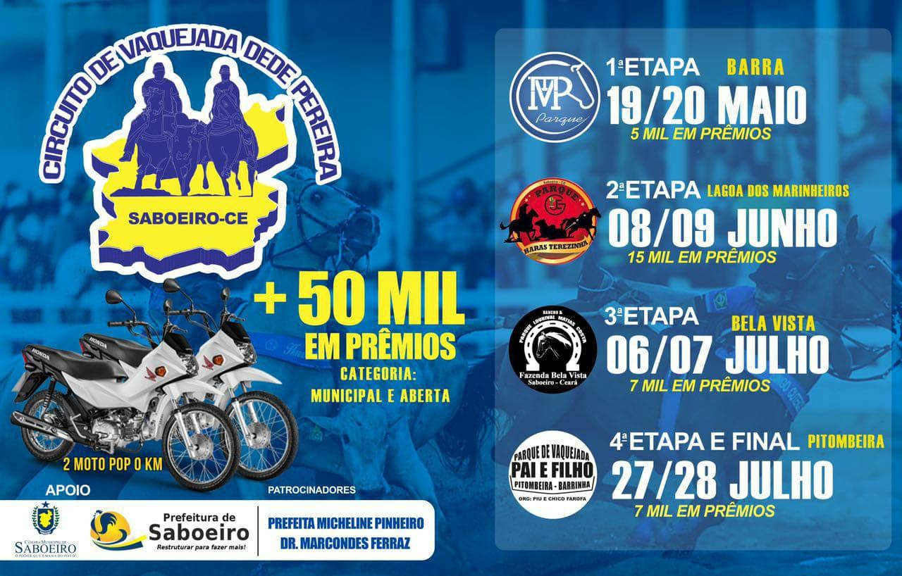Á partir de Maio: Circuito de Vaquejada Dedé Pereira - SABOEIRO-CE.