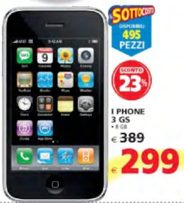 Sottocosto smartphone apple 3 GS