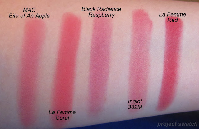 Red Blush Swatches - MAC Bite of an Apple, La Femme Coral, Black Radiance Raspberry, Inglot 382M, La Femme Red