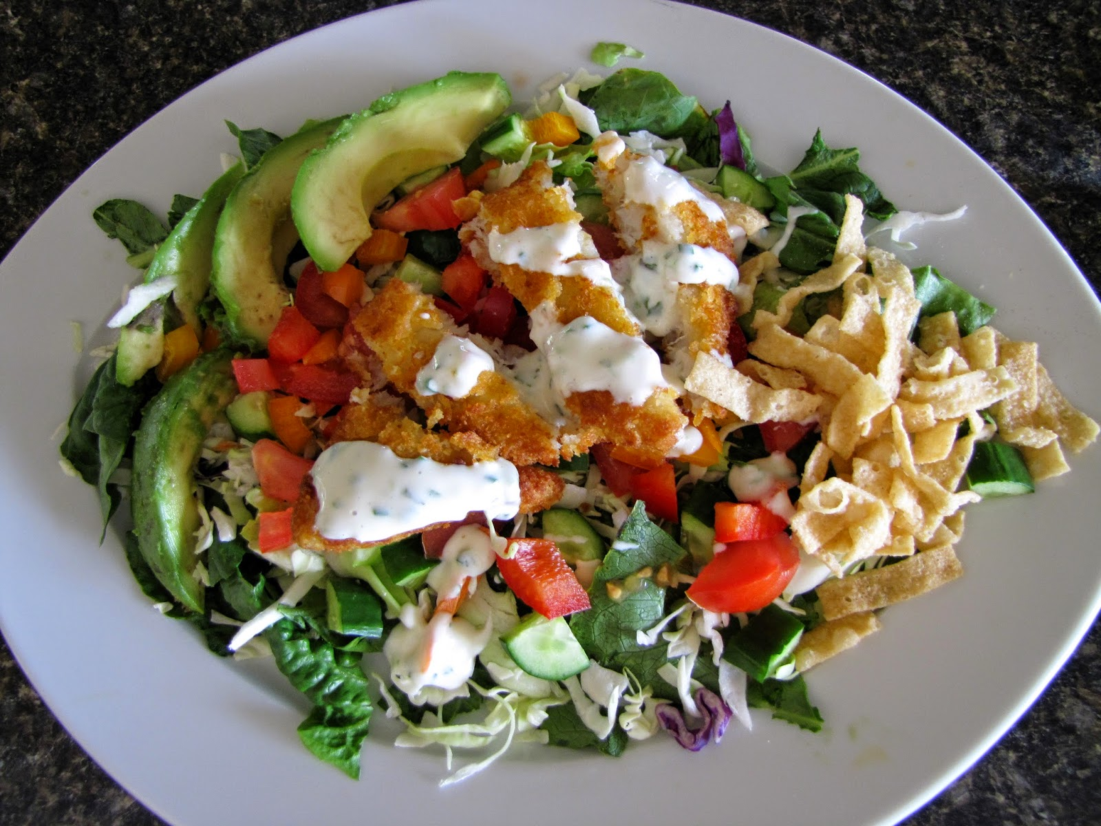 Mennonite girls can cook fish taco salad for Fish and salad
