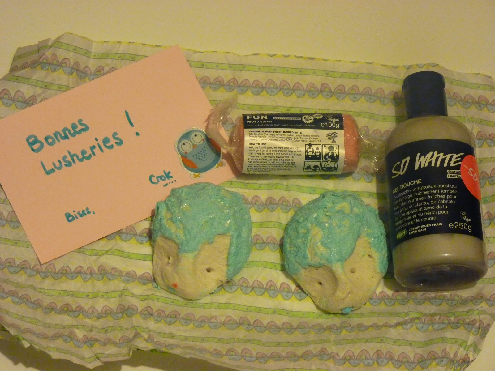 lush, soldes, commande, haul, crok, forum swap, la bouteille, christmas hedgehog, so white, snow angel, fun rose, fondant bain, gel douche,