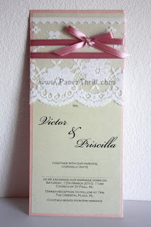 Pink lace handmade wedding invitation card