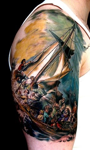 Jesus Ship Tattoo - Tatuagem de Jesus no Barco