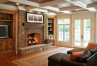 Fascinating Brick Rustic Fireplace Mantels in the Sitting Space with Dark Chaise and Wooden Shelves near it