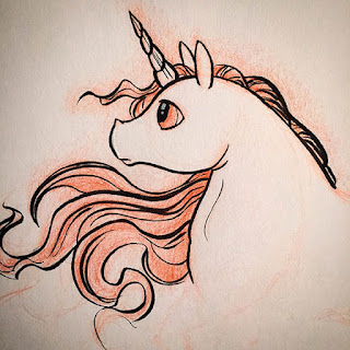 Ink and red colored pencil drawing of a unicorn with windswept mane looking off into the distance