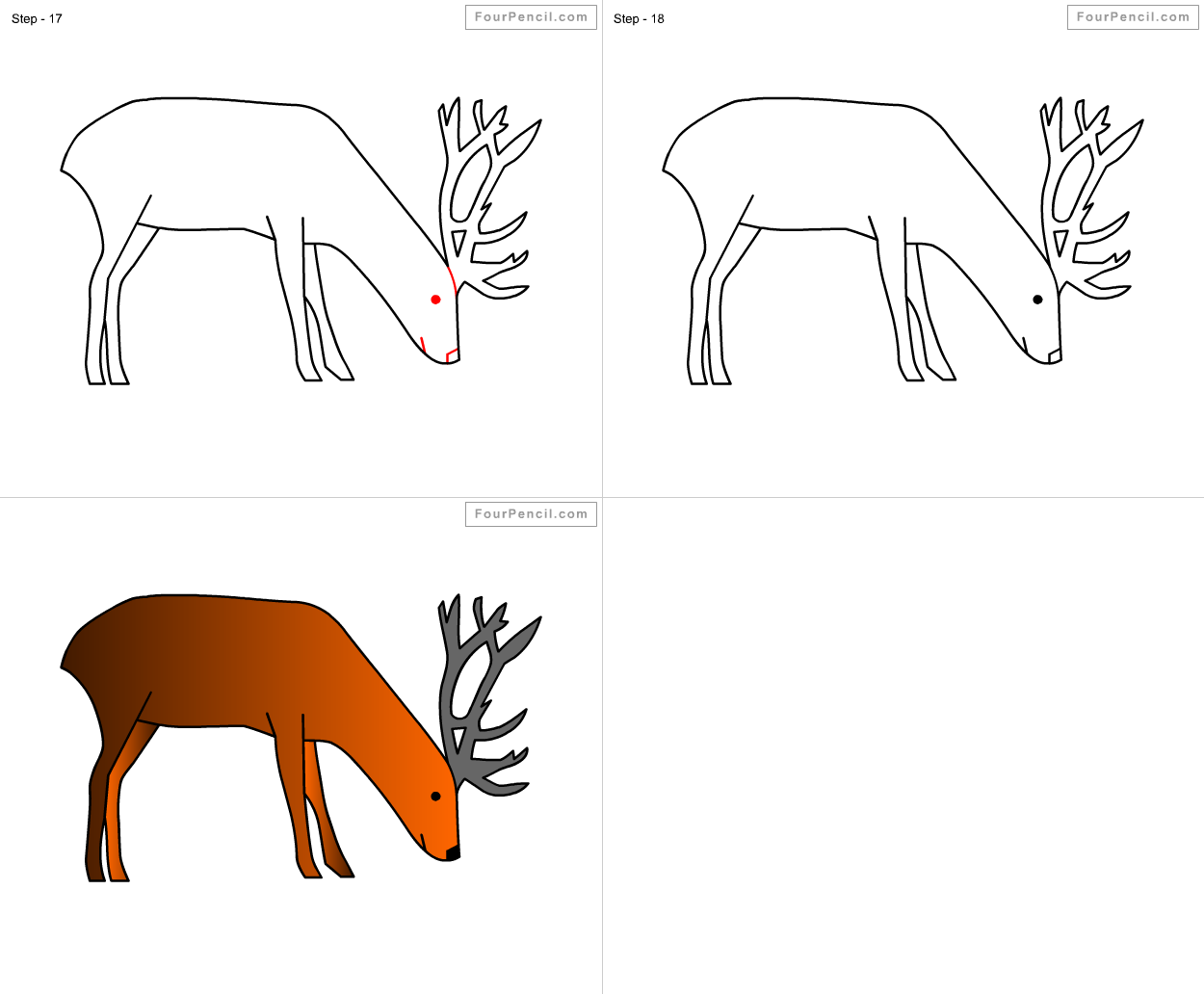 fpencil  how to draw deer for kids step by step