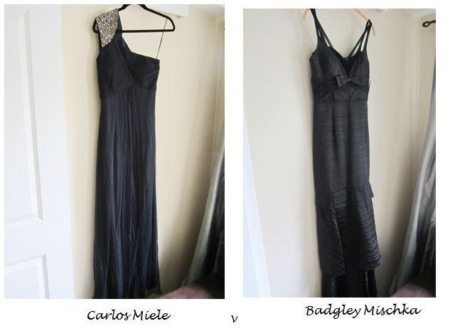 (L) one shoulder black Carlos Miele dress (R) black Badgley Mischka gown