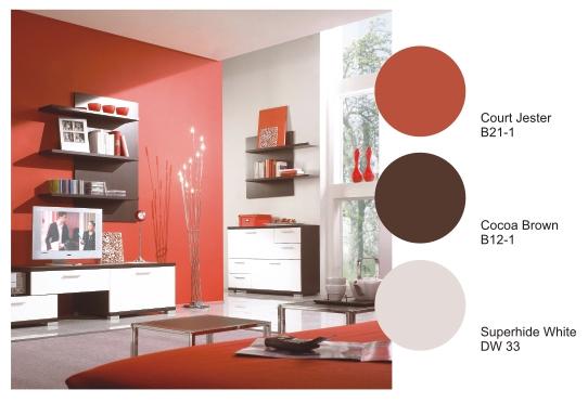 warna kombinasi putih dan coklat membuat ruangan yang menjadi sempurna