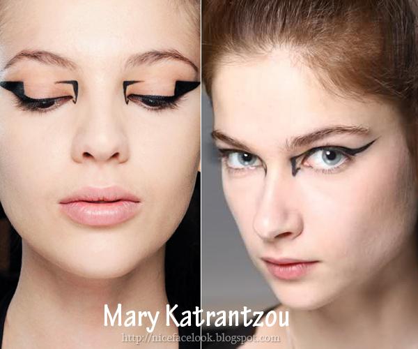 Екстравагантен грим с очна линия Mary Katrantzou