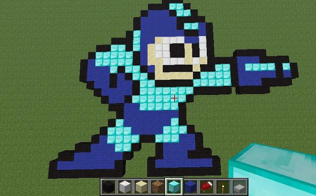 Megaman pixel art in Minecraft