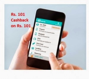 Mobile & DTH Recharge Rs. 101 cashback on Rs. 101atr Rs.18 Mobikwik