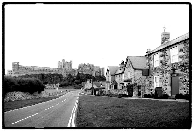 The village of Bamburgh with the castle in the background