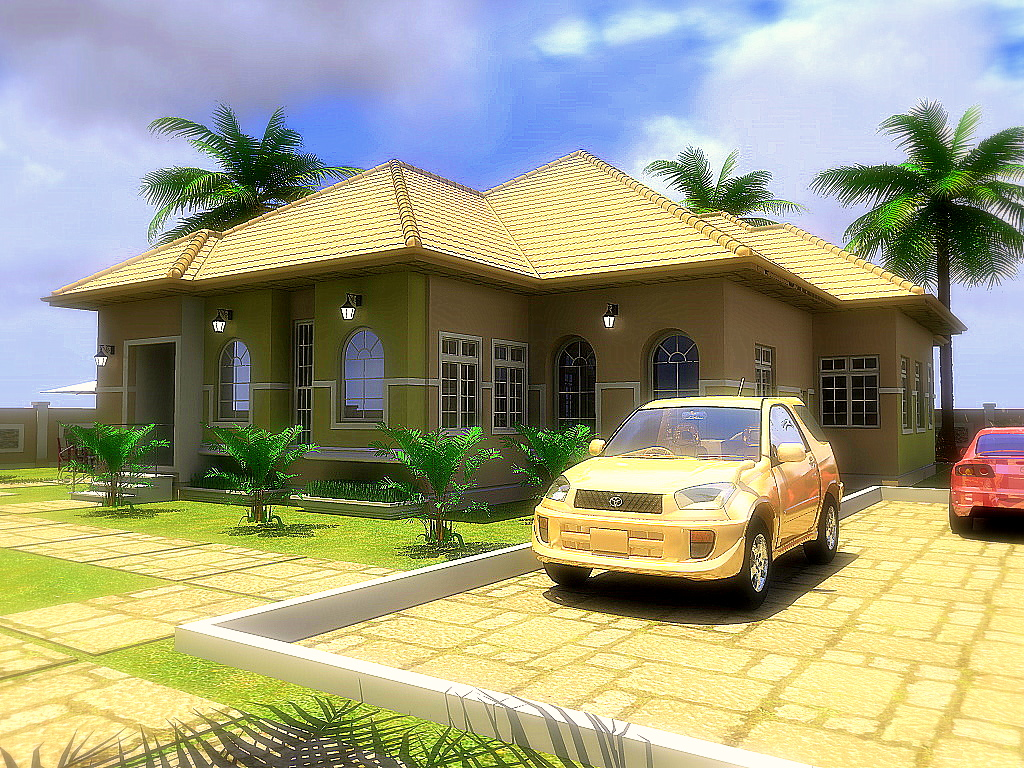 Residential homes and public designs 4 bedroom bungalow for 4 bedroom bungalow house designs