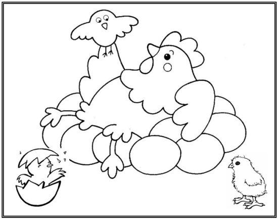 Gallina poniendo huevos para colorear - Imagui
