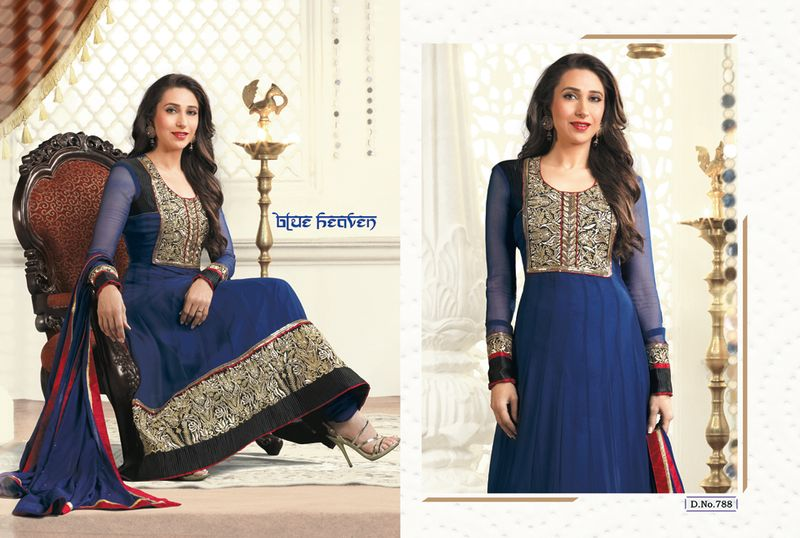 karishma kapoor in blue salwar kameez,  Salwar kameez, Bollywood Salwar kameez, Bollywood Salwar kameez online, Actress Salwar Suits, Actress Salwar kameez