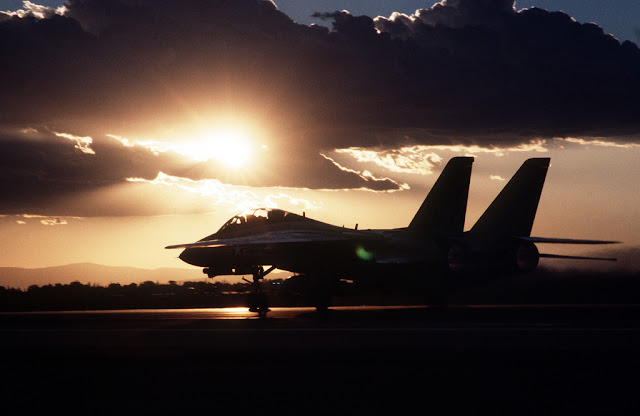 F-14 tomcat sunset takeoff