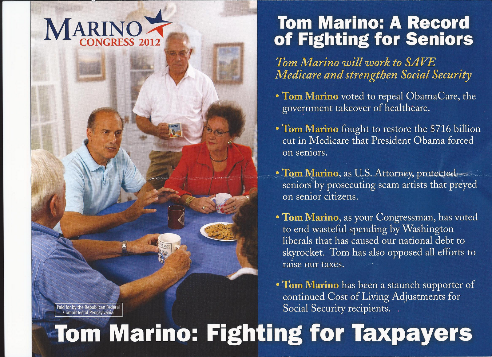 the lu lac political letter 2012 it only took one term for 10th congressional district candidate and incumbent tom marino to trot out his mom in his campaign for re election