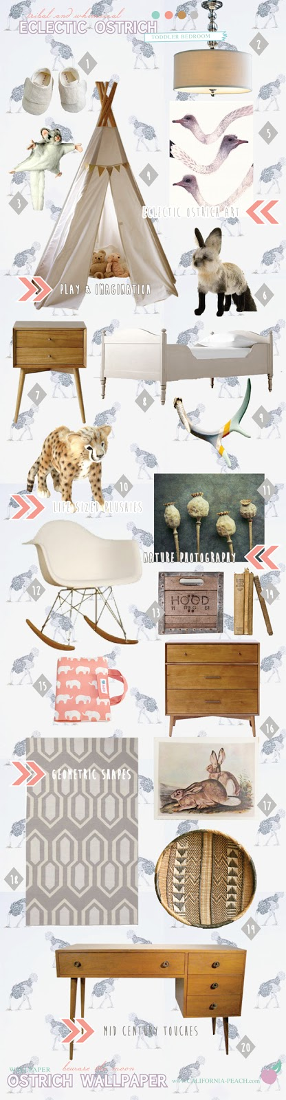 Ecclectic Ostrich || on California Peach || Toddler Room Style Interior Design Board