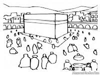 Mewarnai Gambar Orang Haji Berkumpul Didekat Ka'bah