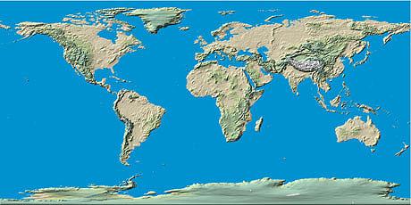 Dilsiz D�nya Fiziki Haritas�