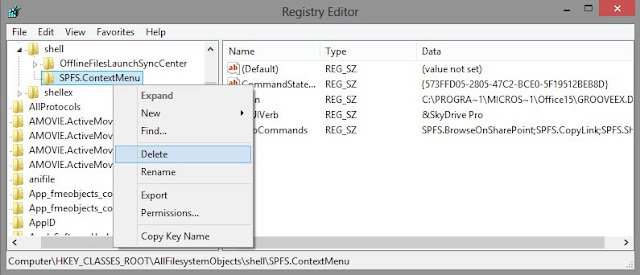 delete registry SPFS.ContextMenu