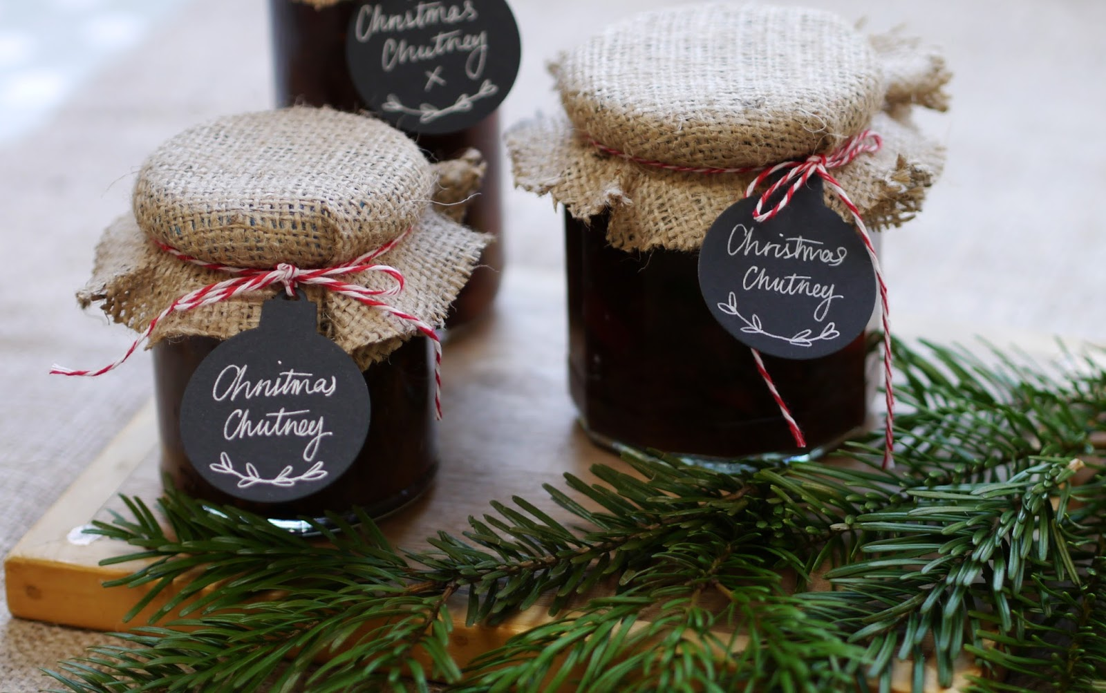 Homemade Christmas Spiced Onion Tomato Chutney Gift in a Jar Packaging