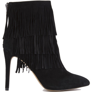 Flapper Three Layer Fringe Heeled Black Suede Booties Steve Madden