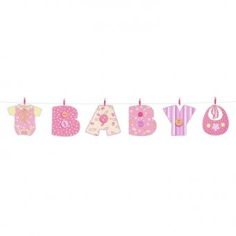 baby shower clothes pink peg banner