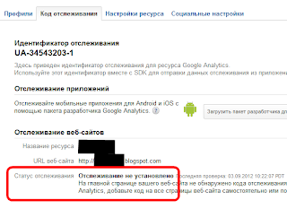 Статус отслеживания в Google Analytics: Отслеживание не установлено