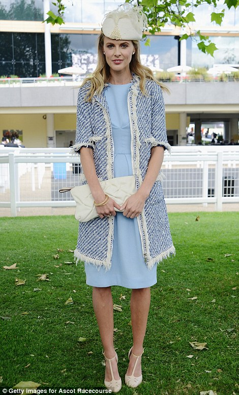 Donna Air in a pretty pale blue dress and tweed coat on day 2 at Royal Ascot, 2014
