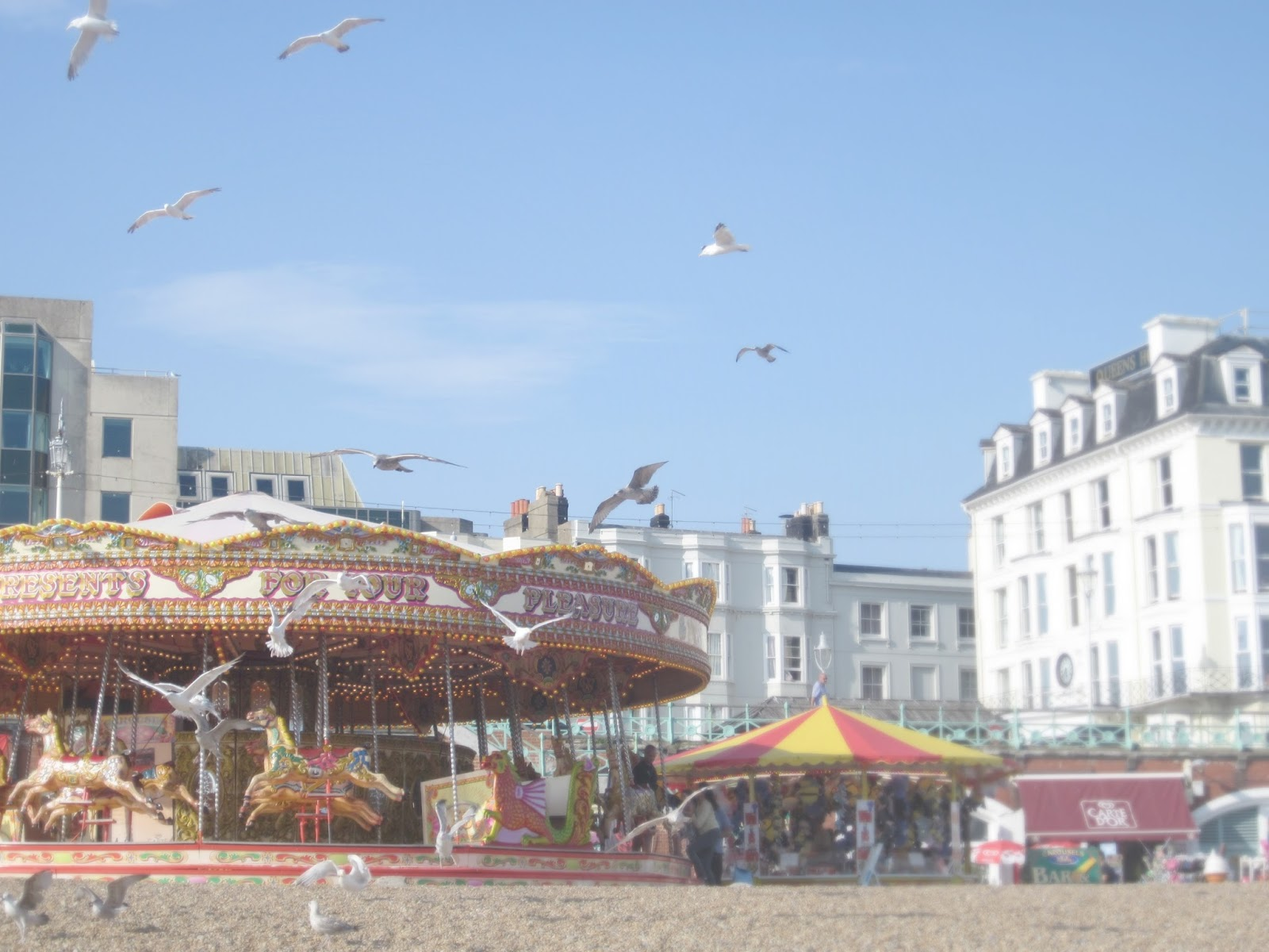 Brighton Carousel with seagulls on beach