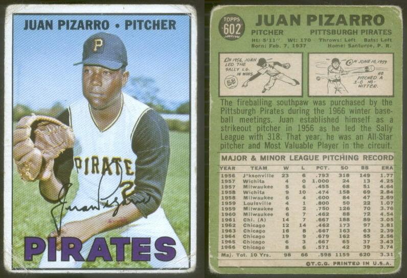 Juan Pizarro 1967 baseball card