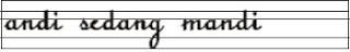 tulisan dengan huruf tegak bersambung