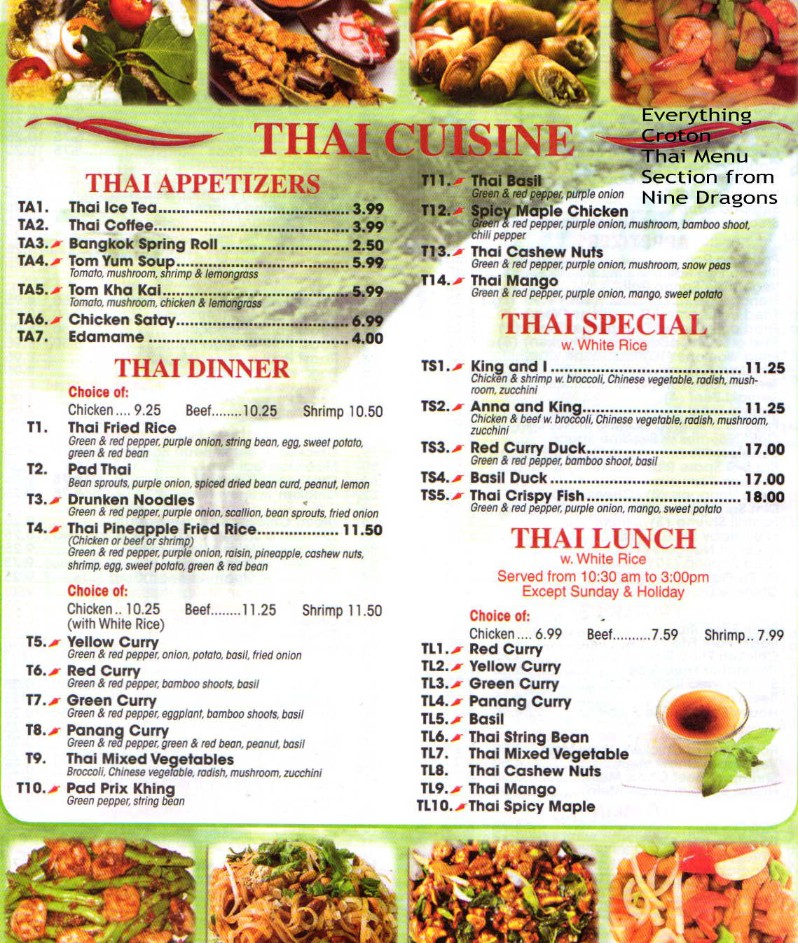 EverythingCroton: AN UPDATE ON THAI FOOD IN CROTON--NINE DRAGONS
