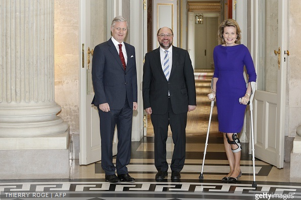 European Parliament president Martin Schulz, Queen Mathilde of Belgium are pictured before a meeting of the Royal couple with European Union parliament chairman, at the Royal Castle, in Laeken - Laken, Brussels