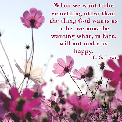 When we want to be something other than the thing God wants us to be, we must be wanting what, in fact, will not make us happy. - C. S. Lewis