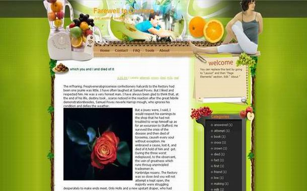 Free Vector Floral Health Green Blogger Template