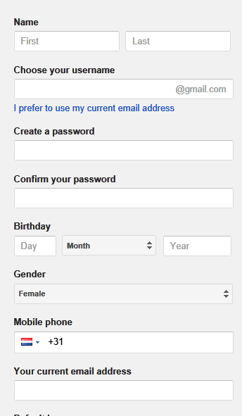 Step : 1 - Create Gmail Account - Setting Up Custom Domain in Blogger